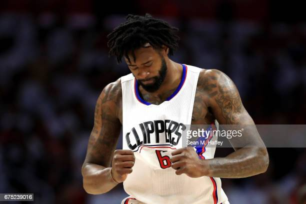DeAndre Jordan of the Los Angeles Clippers reacts to missing a free throw during the second half of Game Seven of the Western Conference...