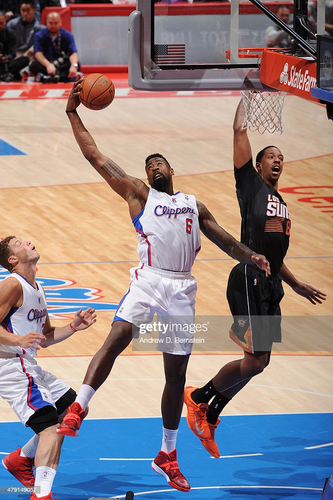 <a gi-track='captionPersonalityLinkClicked' href=/galleries/search?phrase=DeAndre+Jordan&family=editorial&specificpeople=4665718 ng-click='$event.stopPropagation()'>DeAndre Jordan</a> #6 of the Los Angeles Clippers rebounds the ball against the Phoenix Suns at Staples Center on March 10, 2014 in Los Angeles, California.