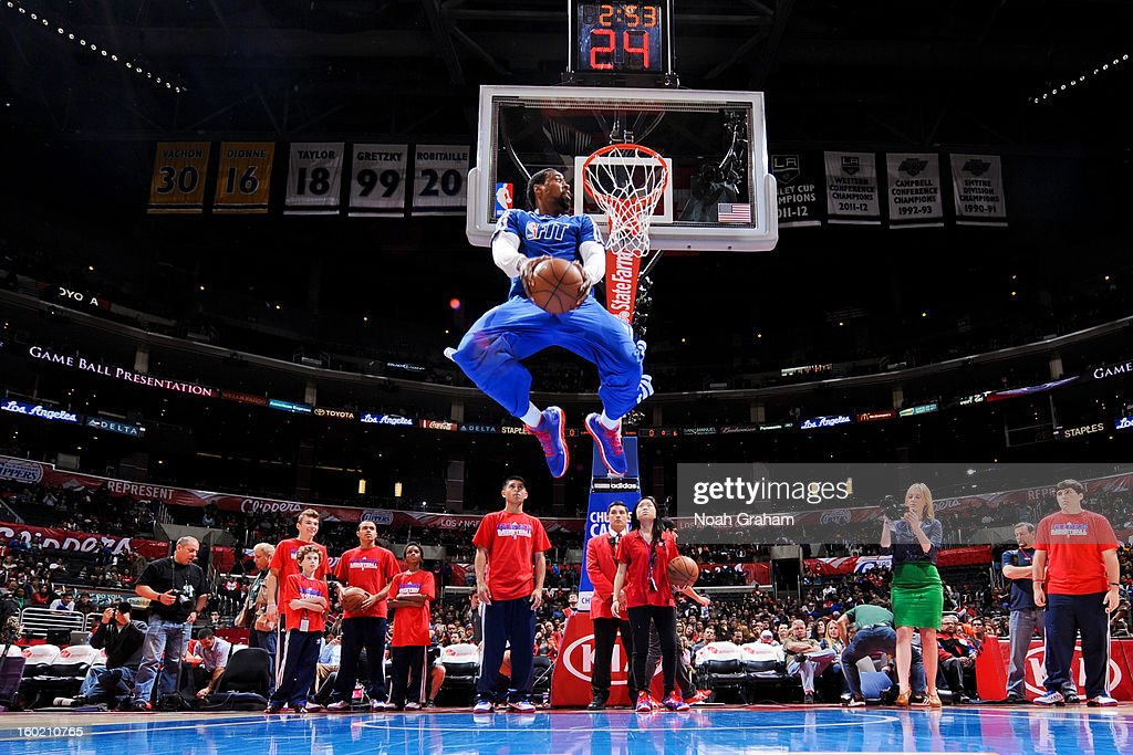 DeAndre Jordan #6 of the Los Angeles Clippers reverse dunks in pregame warmups before facing the Portland Trail Blazers at Staples Center on January 27, 2013 in Los Angeles, California.