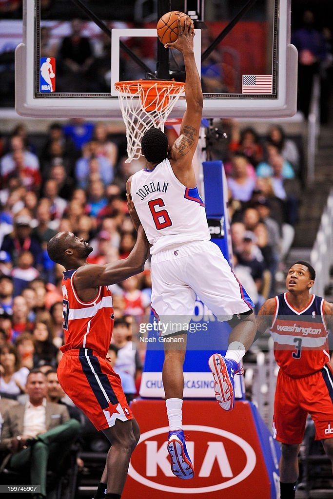 DeAndre Jordan #6 of the Los Angeles Clippers rises for a dunk against Emeka Okafor #50 of the Washington Wizards at Staples Center on January 19, 2013 in Los Angeles, California.