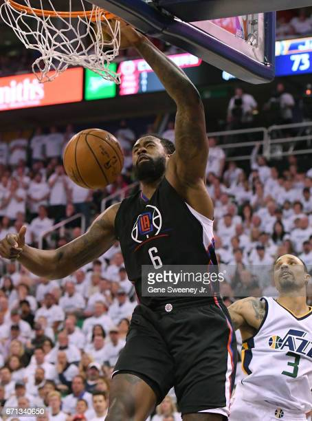 DeAndre Jordan of the Los Angeles Clippers scores a second half basket in their 111106 victory over the Utah Jazz in Game Three of the Western...