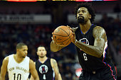 DeAndre Jordan of the Los Angeles Clippers shoots a free throw during a game against the New Orleans Pelicans at the Smoothie King Center on December...