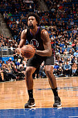 DeAndre Jordan of the Los Angeles Clippers shoots a free throw during the game against the Orlando Magic on February 5 2016 at Amway Center in...