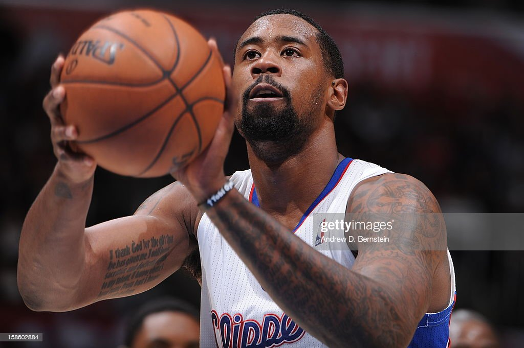 <a gi-track='captionPersonalityLinkClicked' href=/galleries/search?phrase=DeAndre+Jordan&family=editorial&specificpeople=4665718 ng-click='$event.stopPropagation()'>DeAndre Jordan</a> #6 of the Los Angeles Clippers shoots a free throw against the New Orleans Hornets at Staples Center on December 19, 2012 in Los Angeles, California.