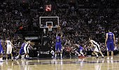 DeAndre Jordan of the Los Angeles Clippers shoots a free throw against the San Antonio Spurs during Game Six of the Western Conference quarterfinals...
