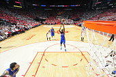 DeAndre Jordan of the Los Angeles Clippers shoots a free throw against the Houston Rockets in Game One of the Western Conference Semifinals during...