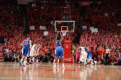 DeAndre Jordan of the Los Angeles Clippers shoots a free throw against the Houston Rocketsin Game Seven of the Western Conference Semifinals during...