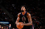 DeAndre Jordan of the Los Angeles Clippers shoots a free throw against the Houston Rockets on December 19 2015 at the Toyota Center in Houston Texas...