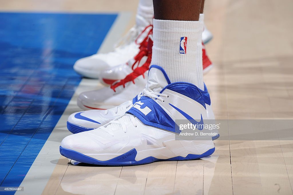 <a gi-track='captionPersonalityLinkClicked' href=/galleries/search?phrase=DeAndre+Jordan&family=editorial&specificpeople=4665718 ng-click='$event.stopPropagation()'>DeAndre Jordan</a> #6 of the Los Angeles Clippers showcases his sneakers against the Houston Rockets at Staples Center on November 4, 2013 in Los Angeles, California.
