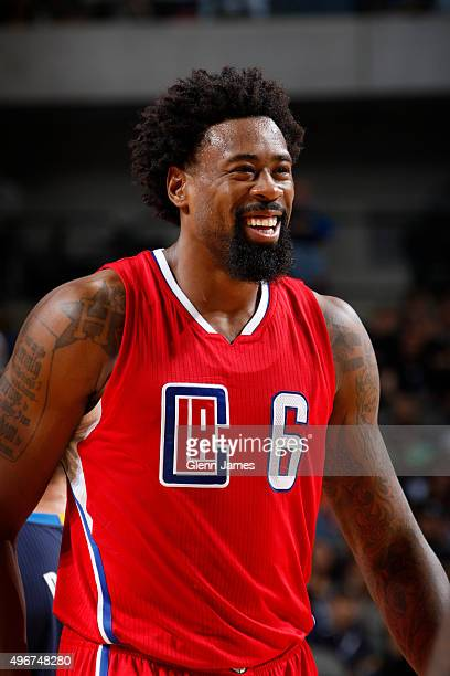DeAndre Jordan of the Los Angeles Clippers smiles during a game against the Dallas Mavericks on November 11 2015 at the American Airlines Center in...