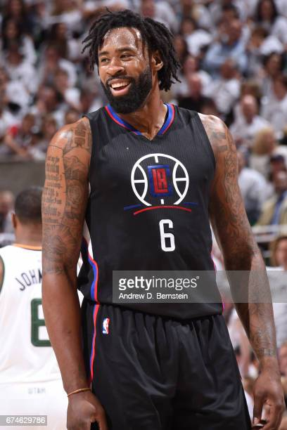 DeAndre Jordan of the Los Angeles Clippers smiles during the game against the Utah Jazz during Game Six of the Western Conference Quarterfinals of...