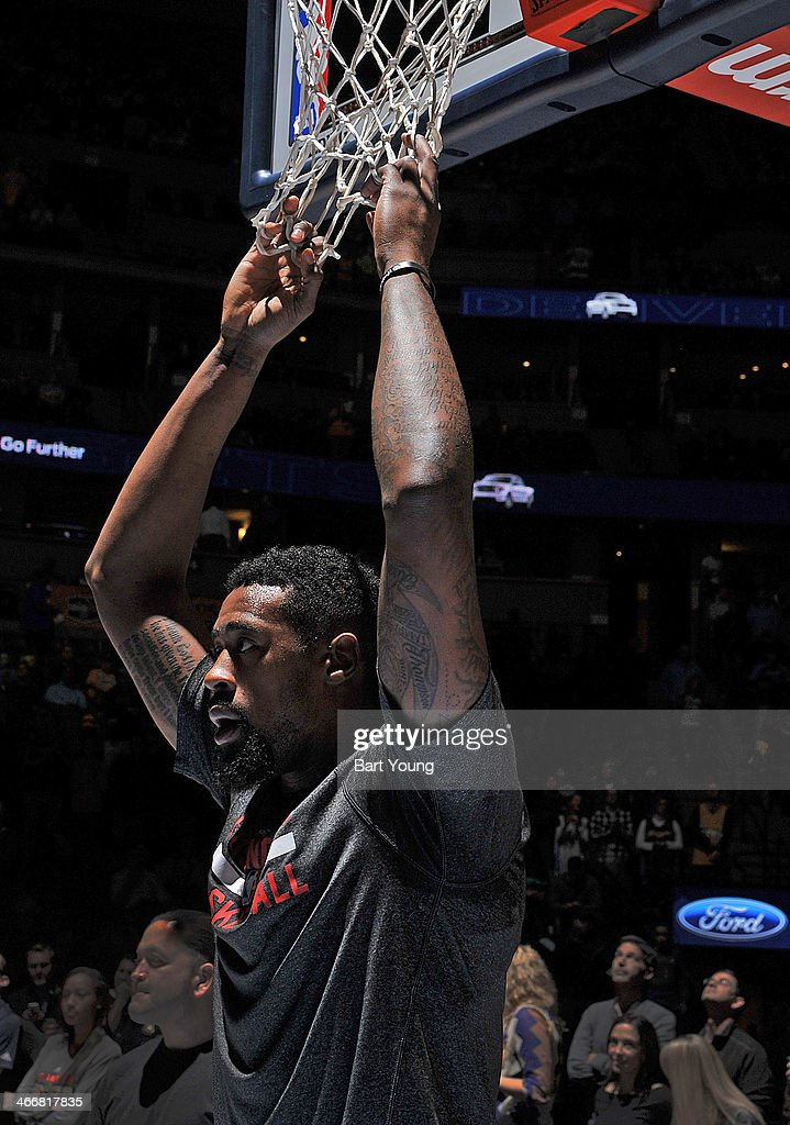 <a gi-track='captionPersonalityLinkClicked' href=/galleries/search?phrase=DeAndre+Jordan&family=editorial&specificpeople=4665718 ng-click='$event.stopPropagation()'>DeAndre Jordan</a> #6 of the Los Angeles Clippers stands on the court before the game against the Denver Nuggets on February 3, 2014 at the Pepsi Center in Denver, Colorado.