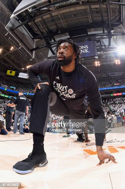 DeAndre Jordan of the Los Angeles Clippers stretches before the game against the Utah Jazz during Game Six of the Western Conference Quarterfinals of...