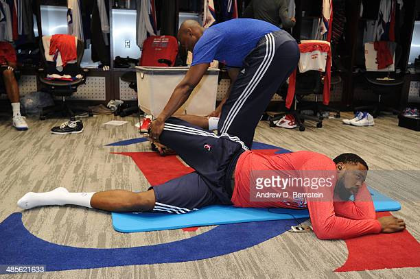 DeAndre Jordan of the Los Angeles Clippers stretches in the locker room before Game One of the Western Conference Quarterfinals of the NBA Playoffs...