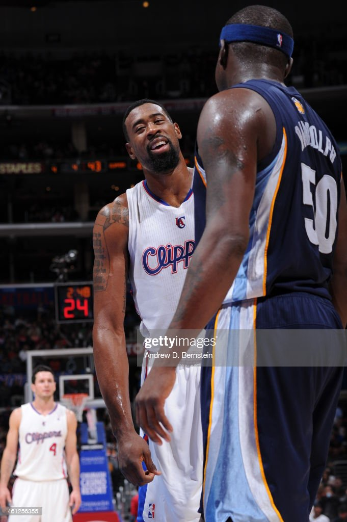 <a gi-track='captionPersonalityLinkClicked' href=/galleries/search?phrase=DeAndre+Jordan&family=editorial&specificpeople=4665718 ng-click='$event.stopPropagation()'>DeAndre Jordan</a> #6 of the Los Angeles Clippers talking with <a gi-track='captionPersonalityLinkClicked' href=/galleries/search?phrase=Zach+Randolph&family=editorial&specificpeople=201595 ng-click='$event.stopPropagation()'>Zach Randolph</a> #50 of the Memphis Grizzlies during a game at Staples Center on November 18, 2013 in Los Angeles, California.
