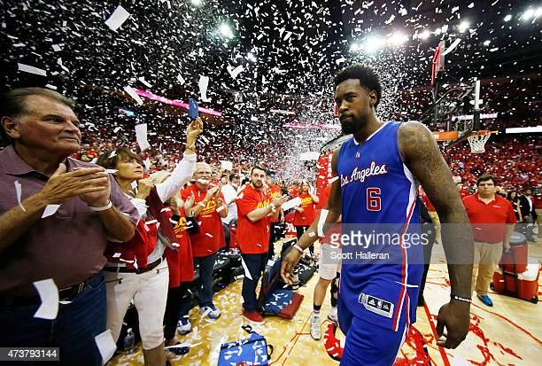 DeAndre Jordan of the Los Angeles Clippers walks off of the court after they lost 100 to 113 to the Houston Rockets during Game Seven of the Western...