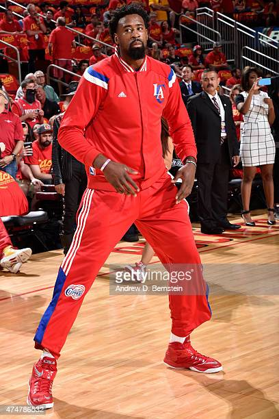 DeAndre Jordan of the Los Angeles Clippers warms up before Game Seven of the Western Conference Semifinals against the Houston Rockets during the...