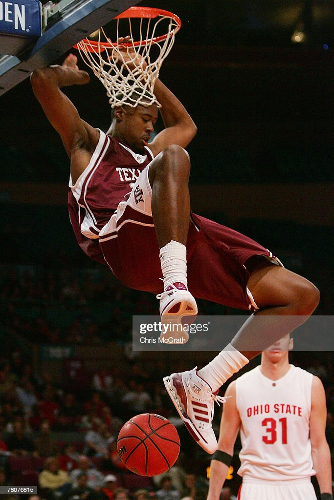 DeAndre Jordan of the Texas AM Aggies slam dunks against the Ohio State Buckeyes during the NIT Season TipOff Championship match at Madison Square...