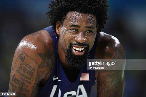 DeAndre Jordan of the United states looks on during the final match of the Men's basketball between Serbia and United States on day 16 at Carioca...