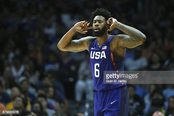 DeAndre Jordan of the United States motions to his bench against China during a USA Basketball showcase exhibition game at Staples Center on July 24...