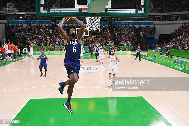DeAndre Jordan of the USA Basketball Men's National Team shoots the ball against Spain during the Semifinals on Day 14 of the Rio 2016 Olympic Games...
