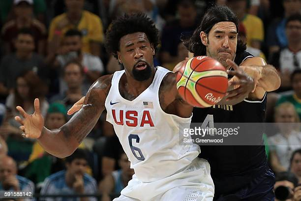 DeAndre Jordan of United States and Luis Scola of Argentina fight for the ball during the Men's Quarterfinal match on Day 12 of the Rio 2016 Olympic...