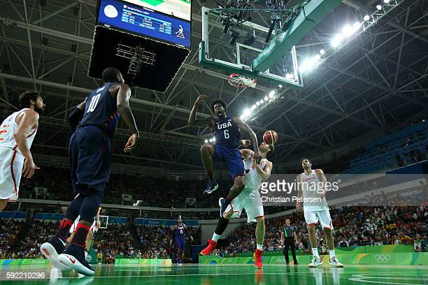 DeAndre Jordan of United States dunks against Pau Gasol of Spain during the Men's Semifinal match on Day 14 of the Rio 2016 Olympic Games at Carioca...