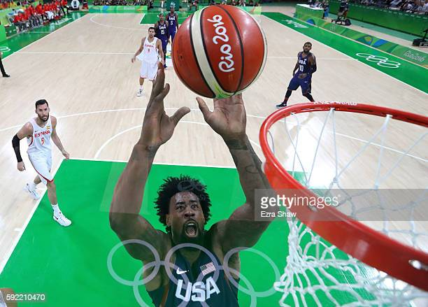 DeAndre Jordan of United States dunks against Spain during the Men's Semifinal match on Day 14 of the Rio 2016 Olympic Games at Carioca Arena 1 on...