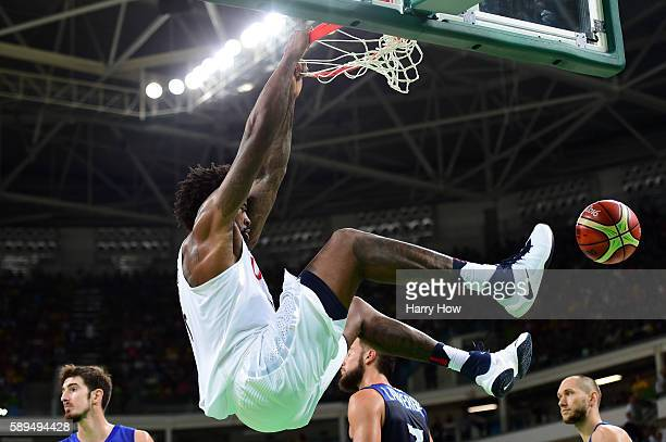 DeAndre Jordan of United States dunks during a Men's Preliminary Round Group A game between the United States and France on Day 9 of the Rio 2016...