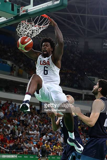 DeAndre Jordan of United States dunks the ball against Argentina during the Men's Quarterfinal match on Day 12 of the Rio 2016 Olympic Games at...