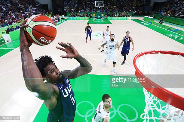 DeAndre Jordan of United States dunks the ball against Serbia during the Men's Gold medal game on Day 16 of the Rio 2016 Olympic Games at Carioca...