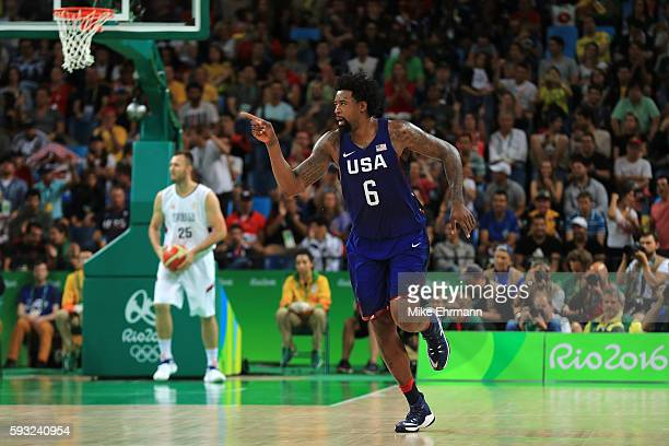 DeAndre Jordan of United States reacts after a shot against the Serbia during the Men's Gold medal game on Day 16 of the Rio 2016 Olympic Games at...