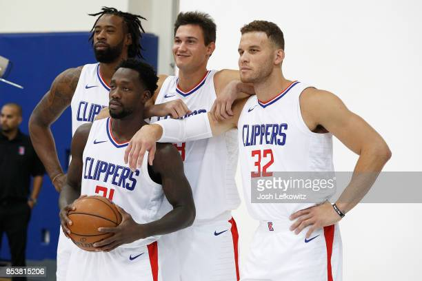 DeAndre Jordan Patrick Beverley Danilo Gallinari and Blake Griffin of the Los Angeles Clippers poses for a photo during media day at the Los Angeles...