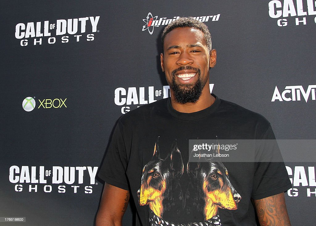 <a gi-track='captionPersonalityLinkClicked' href=/galleries/search?phrase=DeAndre+Jordan&family=editorial&specificpeople=4665718 ng-click='$event.stopPropagation()'>DeAndre Jordan</a>, Pro Basketball Player for the LA Clippers attends 'Call Of Duty: Ghosts' Multiplayer Global Reveal at LA Live on August 14, 2013 in Los Angeles, California.