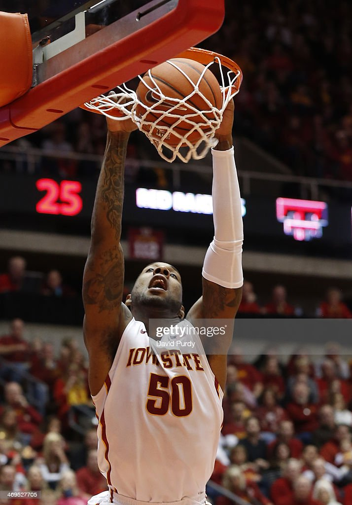 DeAndre Kane #50 of the Iowa State Cyclones dunks the ball in the first half of play against Texas Tech at Hilton Coliseum on February 15, 2014 in Ames, Iowa.