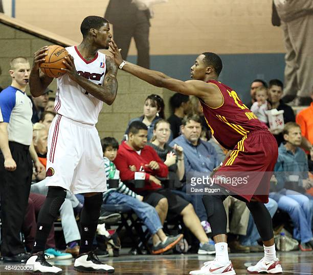 DeAndre Liggins from the Sioux Falls Skyforce looks for a teammate past the defense of Scotty Hopson from the Canton Charge in the first half of...