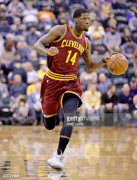 DeAndre Liggins of the Cleveland Cavaliers dribbles the ball during the game against the Indiana Pacers at Bankers Life Fieldhouse on November 16...