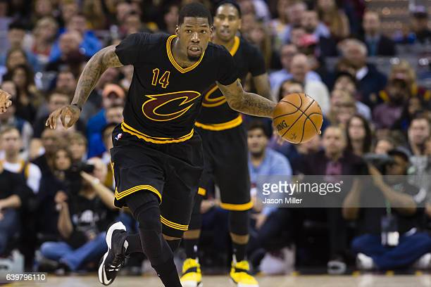 DeAndre Liggins of the Cleveland Cavaliers drives during the first half against the San Antonio Spurs at Quicken Loans Arena on January 21 2017 in...