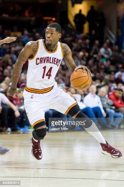 DeAndre Liggins of the Cleveland Cavaliers drives during the first half against the Phoenix Suns at Quicken Loans Arena on January 19 2017 in...
