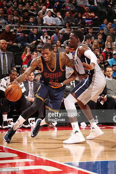 DeAndre Liggins of the Cleveland Cavaliers drives to the basket during a game against the Detroit Pistons on December 26 2016 at The Palace of Auburn...