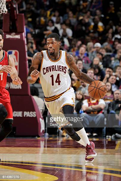 DeAndre Liggins of the Cleveland Cavaliers handles the ball during a preseason game against the Toronto Raptors on October 13 2016 at Quicken Loans...