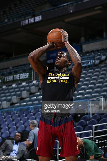 DeAndre Liggins of the Cleveland Cavaliers warms up before the game against the Milwaukee Bucks on December 20 2016 at the BMO Harris Bradley Center...