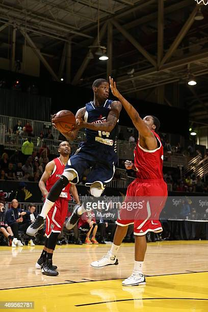 DeAndre Liggins of the Futures shoots against the Prospects during the NBA DLeague AllStar Game at Sprint Arena as part of 2014 NBA AllStar Weekend...