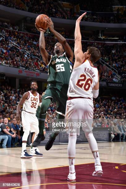 DeAndre Liggins of the Milwaukee Bucks drives to the basket against the Cleveland Cavaliers on November 7 2017 at Quicken Loans Arena in Cleveland...