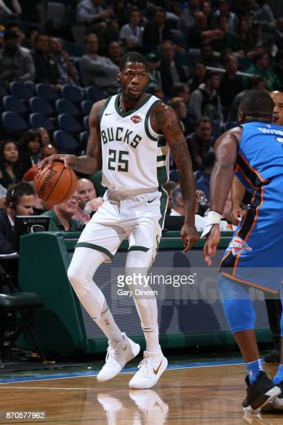 Deandre Liggins of the Milwaukee Bucks handles the ball during the game against the Oklahoma City Thunder on October 31 2017 at the BMO Harris...