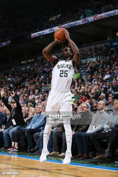 DeAndre Liggins of the Milwaukee Bucks shoots the ball against the Memphis Grizzlies on November 13 2017 at the BMO Harris Bradley Center in...