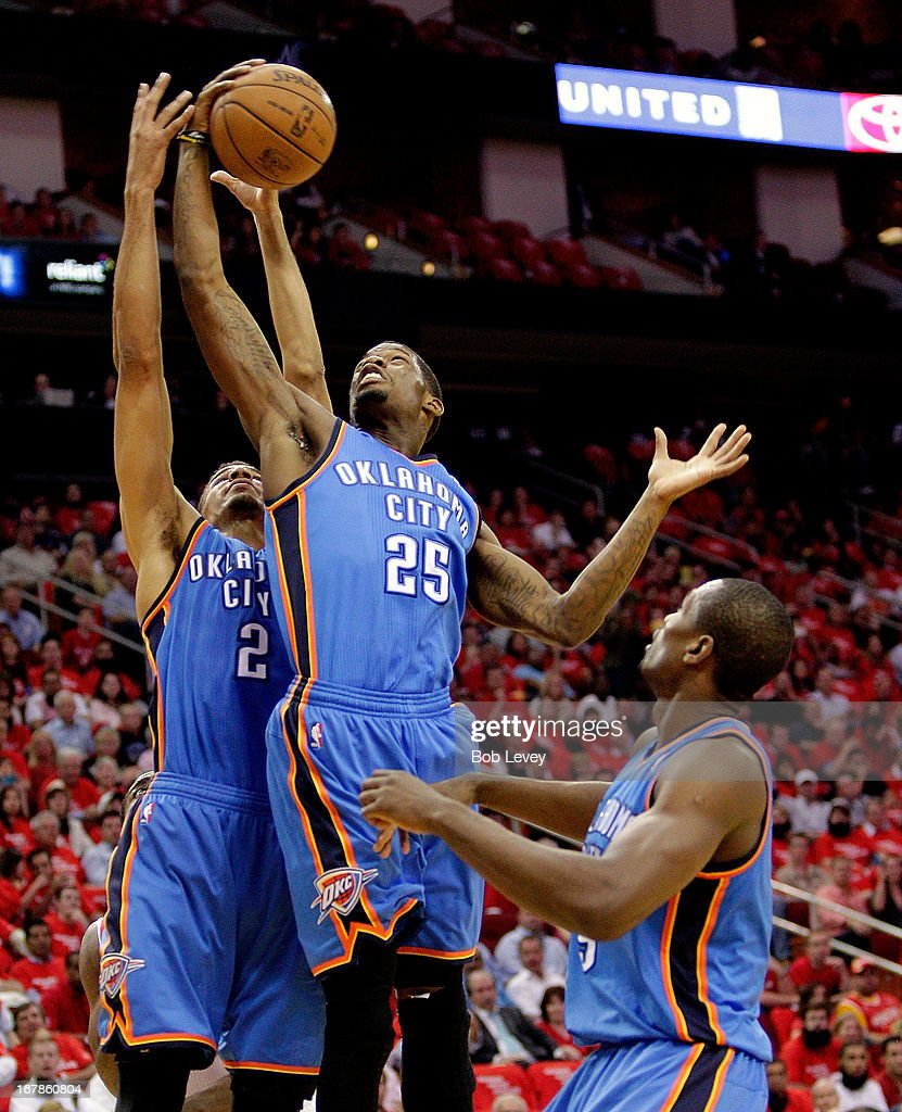 DeAndre Liggins #25 of the Oklahoma City Thunder and Thabo Sefolosha #2 of the Oklahoma City Thunder go up for a rebound against the Houston Rockets during Game Four of the Western Conference Quarterfinals of the 2013 NBA Playoffs at the Toyota Center on April 29, 2013 in Houston, Texas.