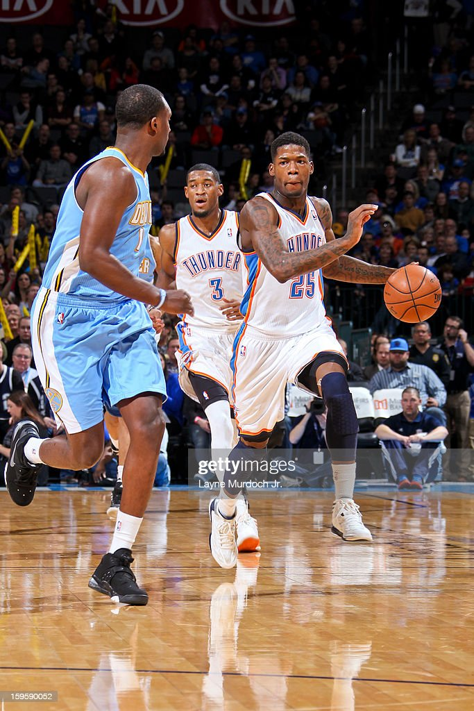 <a gi-track='captionPersonalityLinkClicked' href=/galleries/search?phrase=DeAndre+Liggins&family=editorial&specificpeople=5590638 ng-click='$event.stopPropagation()'>DeAndre Liggins</a> #25 of the Oklahoma City Thunder brings the ball up court against the Denver Nuggets on January 16, 2013 at the Chesapeake Energy Arena in Oklahoma City, Oklahoma.