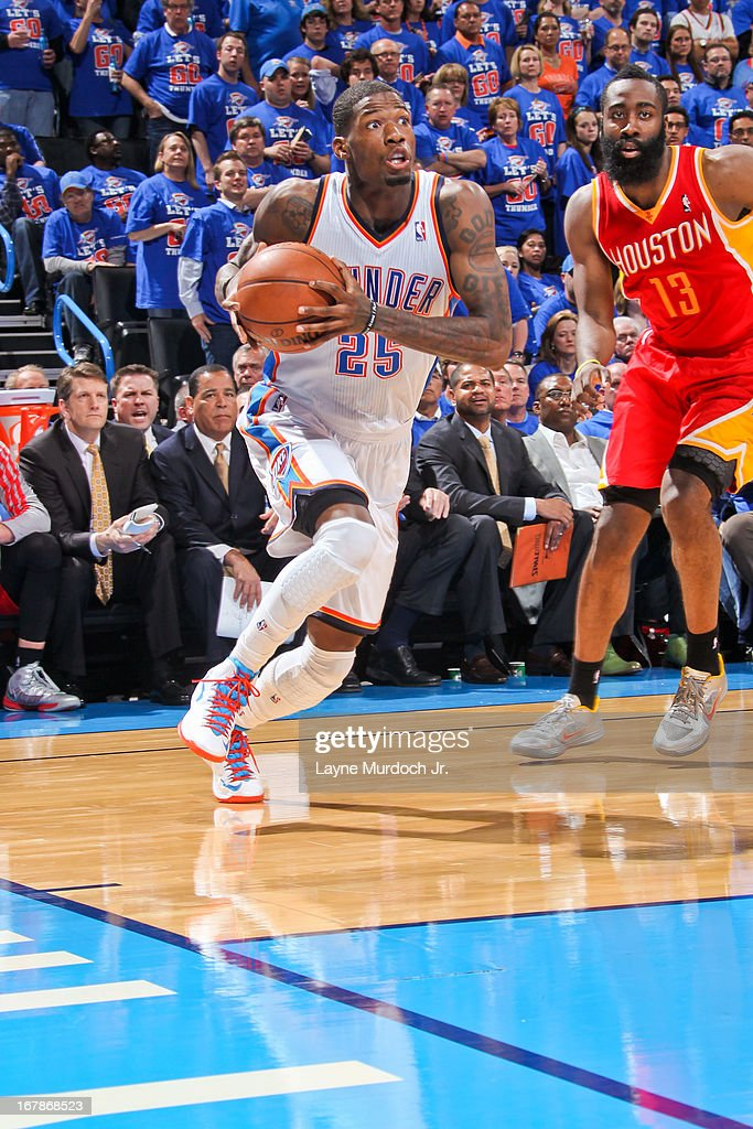 DeAndre Liggins #25 of the Oklahoma City Thunder drives baseline against James Harden #13 of the Houston Rockets in Game Five of the Western Conference Quarterfinals during the 2013 NBA Playoffs on May 1, 2013 at the Chesapeake Energy Arena in Oklahoma City, Oklahoma.