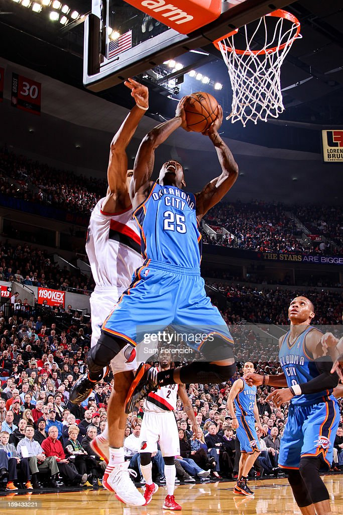 DeAndre Liggins #25 of the Oklahoma City Thunder drives to the basket against the Portland Trail Blazers on January 13, 2013 at the Rose Garden Arena in Portland, Oregon.
